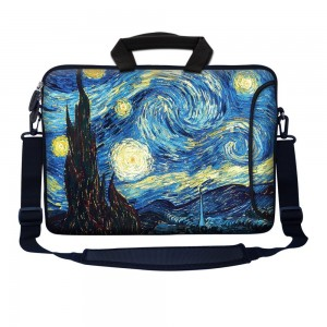 "Meffort Inc 15 15.6 inch Neoprene Laptop Bag Sleeve with Extra Side Pocket, Soft Carrying Handle and Removable Shoulder Strap for 14"" to 15.6"" Size Notebook Computer - The Starry Night"