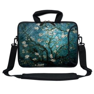 Meffort Inc 13 Inch Neoprene Laptop Bag with Extra Side Pocket, Soft Carrying Handle and Removable Shoulder Strap for 12.5 to 13.3 Inch Size Chromebook Ultrabook (Vincent Van Gogh Almond Blossoming)