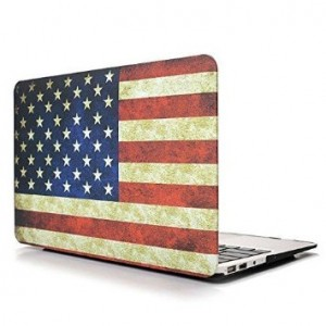 Ebus New Matte Rubber Coated Rubberized Hard Shell Clip Snap on Cases Tough Cover for Apple Macbook 13 inch Retina Display Model A1425 and A1502 and A864 (USA Flag)