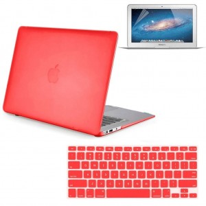 """Neway 3 in 1 bundle Matte Surface Crystal Rubberized Hard Shell Case cover protector for Apple Macbook Air 11"""" (A1370 and A1465)and Keyboard Cover and LCD HD Screen protector,11.6"""" Air,Red(bundle)"""