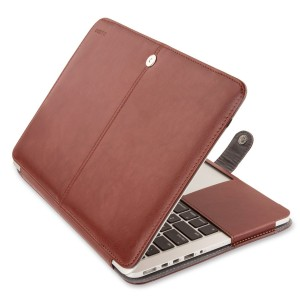 Mosiso MacBook Pro 15 Retina Case, Premium PU Leather Folio Sleeve Cover with Stand Function for Macbook Pro 15.4 Inch with Retina Display (No CD-ROM Drive) Models: A1398, Brown