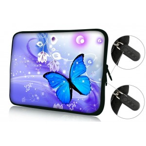 """Colorfulbags FBAps13-004 NEW Fashion Blue butterfly 12.5"""" 13"""" 13.1"""" 13.3"""" inch Notebook Neoprene Soft zip L"""