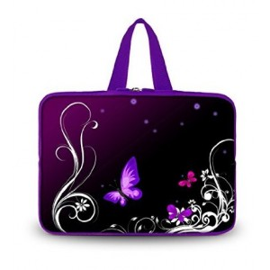 """Colorfulbags OHS13-001 NEW Fashion purpl flower and butterfly 12.5"""" 13"""" 13.1"""" 13.3"""" inch Laptop Netbook Com"""