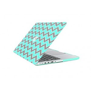 TOP CASE TopCase Chevron Series Gray Insert Hot Blue/Turquoise Ultra Slim Light Weight Rubberized Hard Case