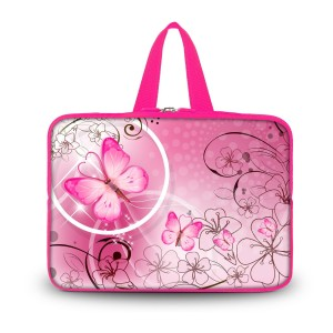 "Colorfulbags OHS14-024 NEW Fashion Pink flower and Butterfly 13.7"" 14"" 14.1"" 14.2"" 14.4"" Inch Laptop Netbo"