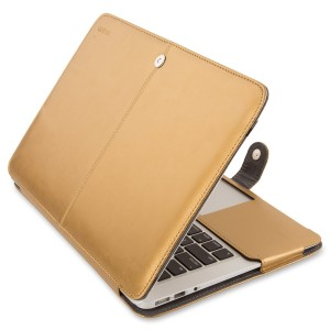 Mosiso MacBook Air 13 Sleeve, Premium Quality PU Leather Book Cover Clip On Folio Case with Stand Function for Macbook Air 13.3 Inch (A1466 / A1369), Gold