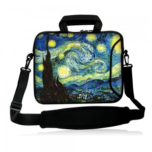 """Colorfulbags Universal Art 9.7"""" 10"""" 10.1"""" 10.2"""" inch soft Neoprene Laptop Netbook Tablet Case Sleeve Bag Cover Pouch Messenger Bag - w/ Handles, Shoulder Strap, and Accessory Pockets For Apple iPad 2, 3, 4 5 air and Most Dell HP ASUS Toshiba Samsung Table"""
