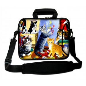 "ProfessionalBags Cute Cats 17"" 17.3"" 17.4"" Neoprene Laptop Shoulder Sleeve Carry Bag Case Cover Pouch Fit 17.3"""