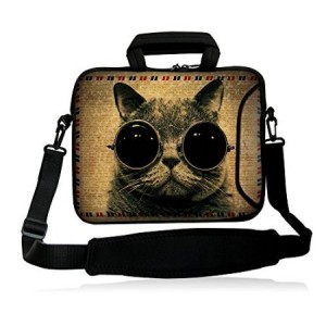 """Colorfulbags NEW Bespectacled cat 16"""" 16.5"""" 17"""" 17.1"""" 17.3"""" 17.3"""" inch Laptop Computer PC Dual Zipped Neo"""