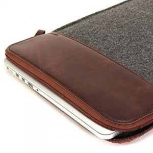 GMYLE Sleeve Felt Zip for MacBook Air Pro Retina 13 inch - Dark Grey and Brown Bag
