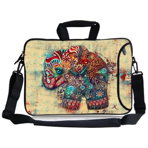 Kitron(TM)12.9-13.3 Inches Cute Colorful Retro Elephant Design Waterproof Neoprene Laptop Sleeve Case Bag Handbag Soft Carrying Handle and Removable Shoulder Strap for 12.5 to 13.3 inch Laptop Chromebook Ultrabook Macbook Pro Air HP Dell Acer Sony Lenovo
