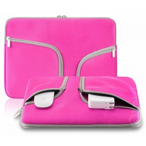 "Steklo - HOT PINK Neoprene Soft Sleeve Case for MacBook 12-inch and MacBook Air 11.6"" and Laptop up to 12"" Ultrabook, Chromebook Bag Cover - HOT PINK"