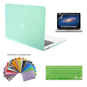 TECOOL Ultra Slim 3 in 1 Hard Case with Keyboard Cover, Screen Protector and Mouse Pad for MacBook Air 13-Inch - Light Green