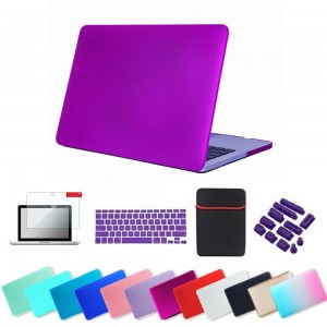 Se7enline Rubberized Frosted Hard Shell Case with Sleeve, Silicon Keyboard Protector, Clear LCD Screen Protector and 12 Pieces Dust Plug for Macbook Air 13 - Deep Purple