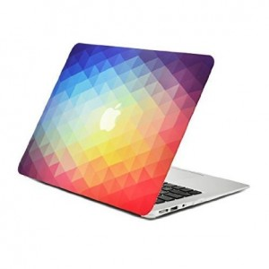 "Unik Case Rainbow Gradient Ombre Triangular Galore Graphic Ultra Slim Light Weight Matte Rubberized Hard Case Cover for Macbook Air 13"" 13-Inch Model: A1369 and A1466"