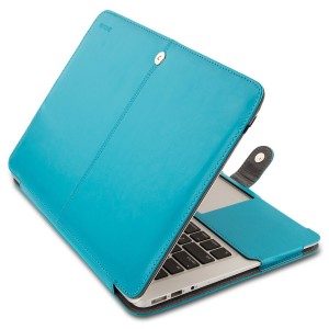 Mosiso MacBook Air 11 Sleeve, Premium Quality PU Leather Book Cover Clip On Folio Case for MacBook Air 11.6 Inch (Models: A1370 and A1465), Blue