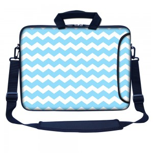 "Meffort Inc 15 15.6 Inch Neoprene Laptop Bag Sleeve with Extra Side Pocket, Soft Carrying Handle and Removable Shoulder Strap for 14"" to 15.6"" Size Notebook Computer - Light Blue Chevron Pattern"