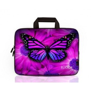"""iColor - Fashion Butterfly 15""""-15.6"""" Inch Laptop / Notebook Computer / MacBook Air / MacBook Pro Case Briefcase Bag Pouch Sleeve Carry Case (IHB15-005)"""