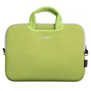 """iColor- Fashion Green 13""""-13.3"""" inch Laptop Netbook / Notebook Computer / MacBook Air / MacBook Pro Ultra-Portable Neoprene Zipper Carrying Bag Sleeve Briefcase Pouch Bag Tote w/ Handle (ISH13-GREEN)"""