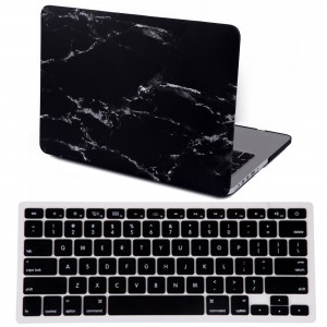 """HDE MacBook Pro 13"""" Retina Case Marble Pattern Designer Hard Shell Rubber Coated Plastic Cover with Keyboard Skin fits No CD Drive Models A1425 / A1502 (Black and White)"""