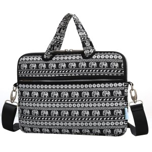 KAYOND 15.6 inch Canvas Fabric Portable Messenger cross-body Shoulder Neoprene Laptop / Notebook Computer / Macbook Sleeve Office Tote Briefcase Carry Case (15.6inch, Elephant pattern Black)