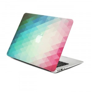 """Unik Case-2 in 1 Bundle Deal Gradient Ombre Triangular Galore Graphic Matte Rubberized Hard Shell Case and Black Keyboard cover silicon skin for Apple Macbook Air 13.3"""" Model: A1369 and A1466"""