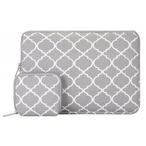 Mosiso Laptop Sleeve, Quatrefoil Style Canvas Fabric Case Bag Cover for 15-15.6 Inch Notebook Computer / MacBook Air and Pro with a Small Case, Gray