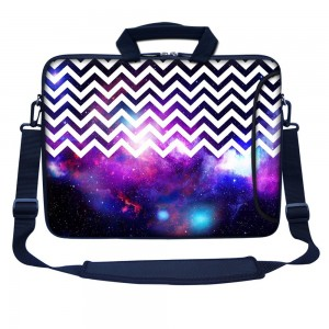 """Meffort Inc 17 17.3 inch Neoprene Laptop Bag Sleeve with Extra Side Pocket, Soft Carrying Handle and Removable Shoulder Strap for 16"""" to 17.3"""" Size Notebook Computer - Chevron Pattern Galaxy"""
