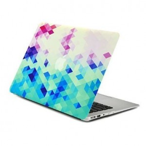 "Unik Case Gradient Ombre Triangular Galore Digital Waterfall Pink and Blue Graphic Ultra Slim Light Weight Matte Rubberized Hard Case Cover for Macbook Air 13"" 13-Inch Model: A1369 and A1466"