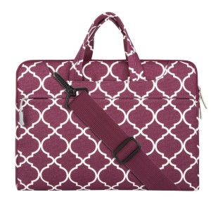 Mosiso Laptop Shoulder Briefcase Bag, Quatrefoil Style Canvas Fabric Sleeve Carry Case for 15-15.6 Inch MacBook Pro, Notebook Computer, Wine Red