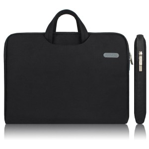 Arvok 15 15.6 Inch Water-resistant Canvas Fabric Laptop Sleeve With Handle Zipper Pocket/Notebook Computer Case/Ultrabook Tablet Briefcase Carrying Bag For Acer/Asus/Dell/Lenovo/HP/Samsung/Sony, Black