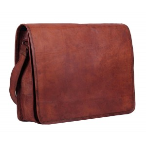 The Leather Bags Unisex Cross Shoulder Full Flap Laptop Leather Messenger Bag Satchel Dark Brown