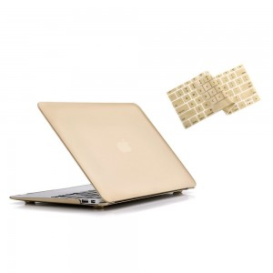 """Ruban - Air 13-inch 2 in 1 Soft-Touch Hard Case Cover and Keyboard Cover for Macbook Air 13.3"""" Models: A1369 / A1466 - Gold"""