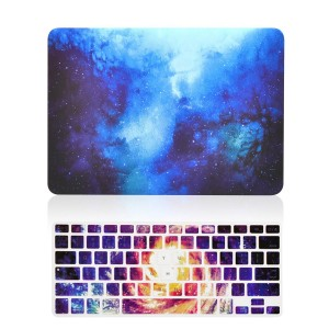 """TOP CASE – 2 in 1 Bundle Deal Air 13-Inch Galaxy Graphic Rubberized Hard Case + Galaxy Keyboard Cover for MacBook Air 13"""" Model A1369/A1466 - Blue"""