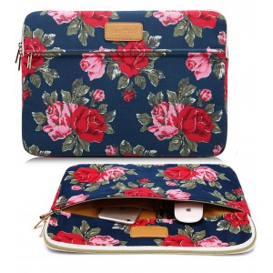 CoolBell(TM)12.9 Inch iPad Pro Sleeve Case Surface Pro 4 Cover With Peony Flower Pattern Fabric Sleeve Canvas Bag Exclusive For iPad Pro / Surface Pro 4 / 12'' New Macbook / Women / Men