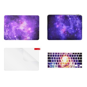"TOP CASE – 4 in 1 Bundle Deal Retina 13-Inch Galaxy Graphic Hard Case, Keyboard Cover, Screen Protector and Sleeve Bag for MacBook Pro 13"" with Retina Display Model A1425 / A1502 - Purple"