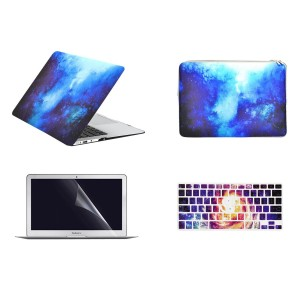 "TOP CASE – 4 in 1 Bundle Deal Air 13-Inch Galaxy Graphic Hard Case, Keyboard Cover, Screen Protector and Sleeve Bag for MacBook Air 13"" Model A1369 / A1466 - Blue"