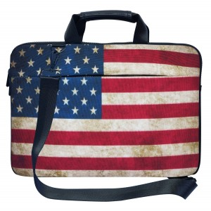 Meffort Inc 17 17.3 inch Canvas Laptop Shoulder and Hand Carrying Bag Case with Side Protection - American Flag