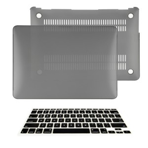 """TOP CASE - 2 in 1 Bundle Deal Air 11-Inch Rubberized Hard Case Cover and Matching Color Keyboard Cover for Macbook Air 11"""" (A1370 and A1465) with TopCase Mouse Pad - Gray"""
