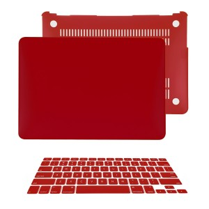 """TOP CASE - 2 in 1 Bundle Deal Air 13-Inch Rubberized Hard Case Cover and Matching Color Keyboard Cover for Macbook Air 13"""" (A1369 and A1466) with TopCase Mouse Pad - Wine Red"""