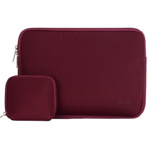 Mosiso Laptop Sleeve, Water Repellent Neoprene Case Bag Cover for 14 Inch Notebook Computer Ultrabook with a Small Case, Wine Red