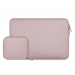 Mosiso Laptop Sleeve, Water Repellent Neoprene Case Bag Cover for 13-13.3 Inch MacBook Pro, MacBook Air, Notebook with a Small Case, Baby Pink