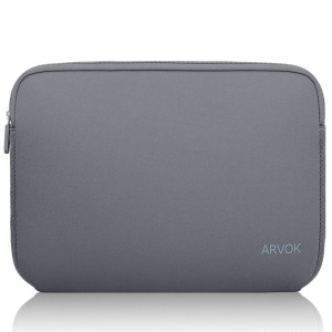 Arvok 13 13.3 14 Inch Water-resistant Neoprene Laptop Sleeve Case Bag/Notebook Computer Case/ Briefcase Carrying Bag/ Skin Cover For Acer/ Asus/ Dell/ Fujitsu/ Lenovo/ HP/ Samsung/ Sony/ Toshiba(Grey)