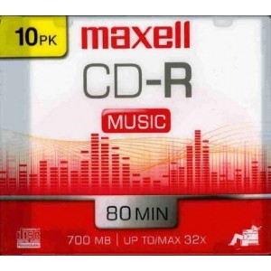 Original Equipment Manufacture Maxell 10-Pack CDR Recordable Media 80min for Music