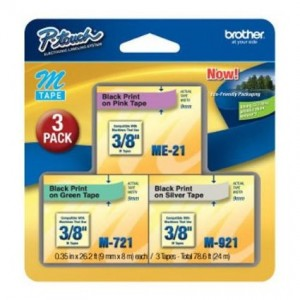 Brother ME793 P-touch M Tape 3/Pack, Black on Pink, Black on Green, Black on Silver (Discontinued by Manufacturer)