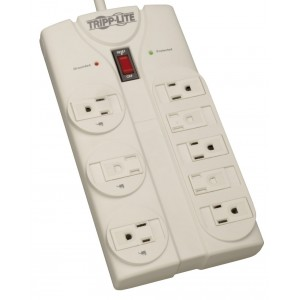 Tripp Lite 8 Outlet Surge Protector Power Strip, 8ft Cord Right Angle Plug, LIFETIME INSURANCE and $75K INSURANCE (TLP808)