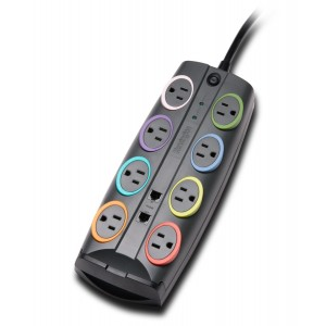 Kensington 62690 SmartSockets Standard Adapter 8-Outlet Color-Coded Power Strip and Surge Protector