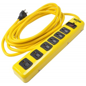 Yellow Jacket 5138N Metal Surge Protector Strip, 15-Foot Cord, 6-Outlet