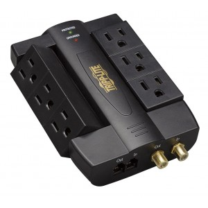 Tripp Lite 6 Swivel Outlet Direct Plug-in Audio/Video Surge Protector Tel/Modem/Coax (HTSWIVEL6)