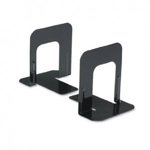 Universal Economy Bookends, Standard, 4 3/4 x 5 1/4 x 5, Heavy Gauge Steel, Black - Sold as 2 Packs of - 2 -